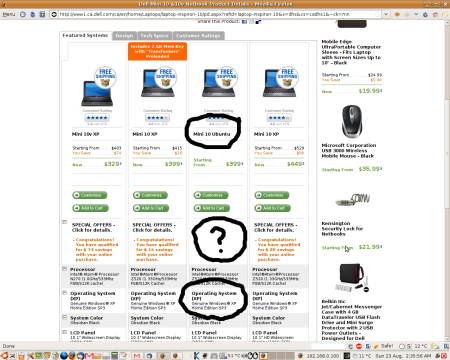 Dell.ca Netbooks: 'Ubuntu' machines have no discount AND don't have Ubuntu!